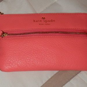 Kate Spade Coral Leather Wristlet